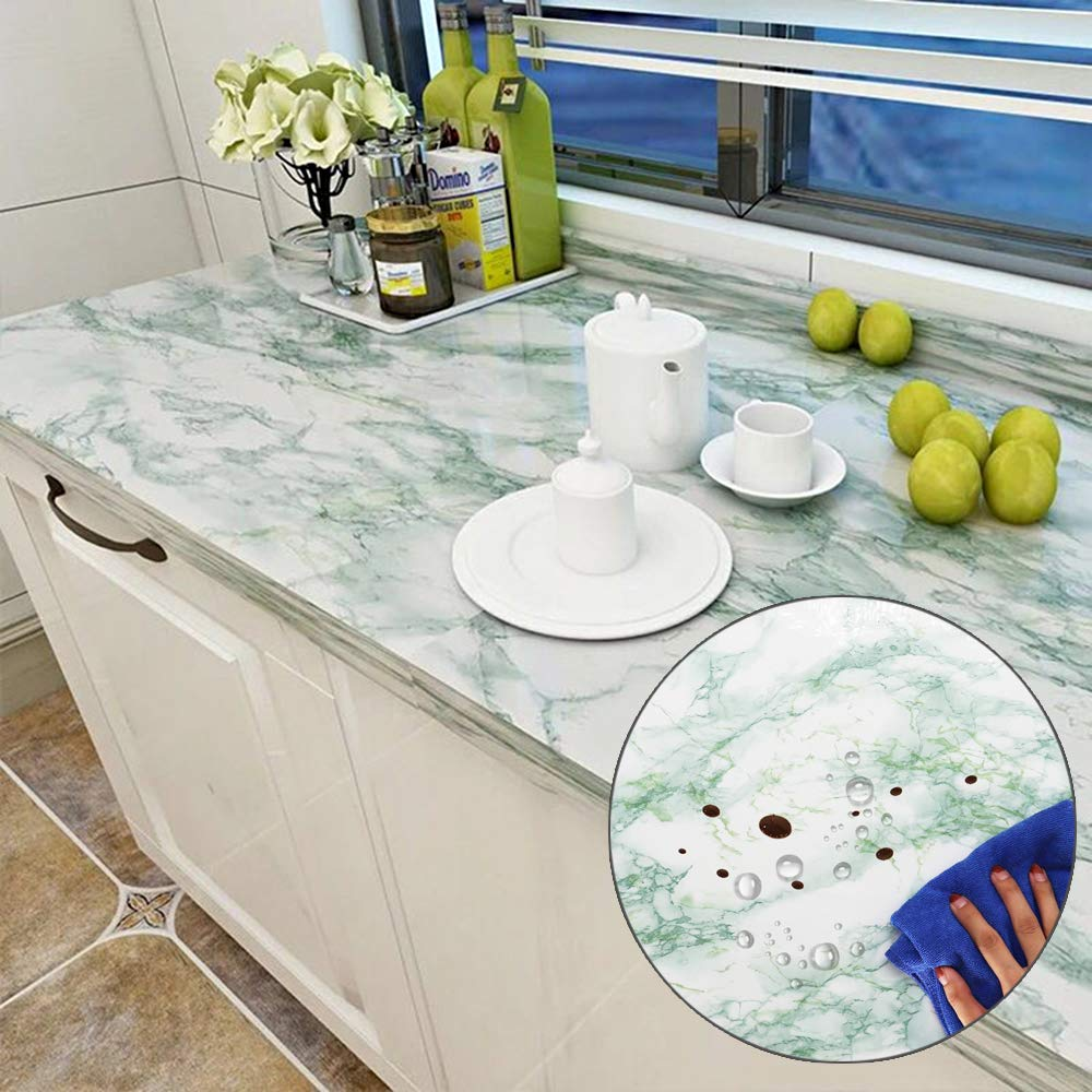 YENHOME Emerald Green Marble Peel and Stick Countertops Cover Peel and  Stick Wallpaper for Kitchen Backsplash Cabinets Self Adhesive Wallpaper for  ...