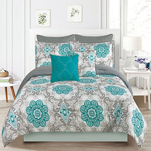 Bedding Comforter 7 Pc. Queen Size Bed Set, Teal Blue and Gray Medallion