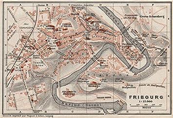 Freiburg Schweiz Karte.Freiburg Fribourg Town City Stadtplan Schweiz Suisse