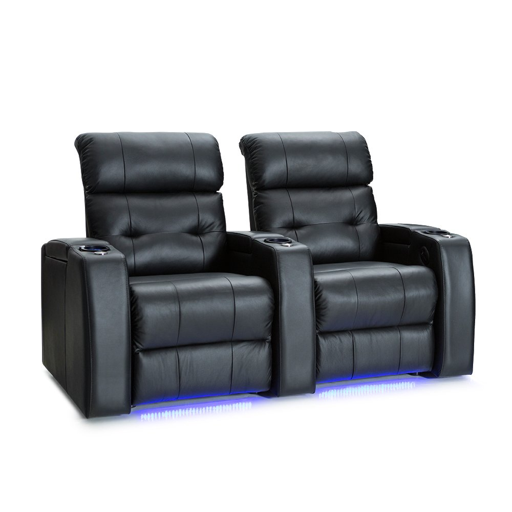 Palliser Mirage Leather Home Theater Seating Power Recline - (Row of 2, Black) by Palliser