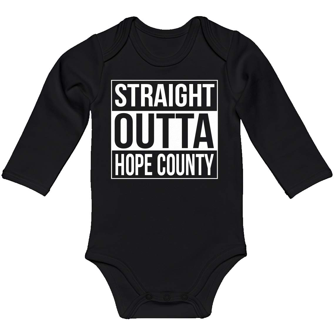 Indica Plateau Baby Romper Straight Outta Hope County 100/% Cotton Long Sleeve Infant Bodysuit