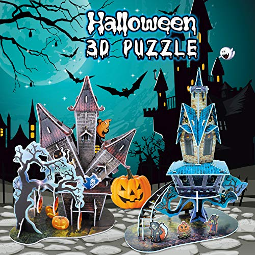 Halloween Decorations 3D Puzzles in 2 Styles- 89 Pieces for Kids Halloween Party Supplies, Game Prizes, Indoor Decorations,Gifts and More