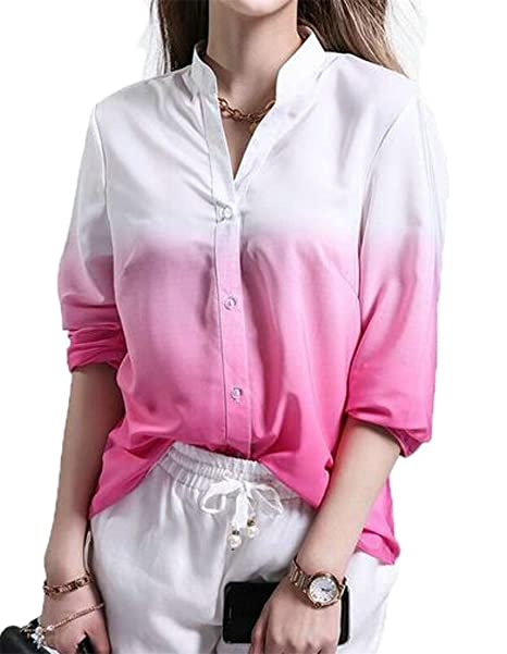 be662efa88e CMCYY Women Button Front Chiffon Top Stand Collar Contrast Color Shirts  Pink X-Small
