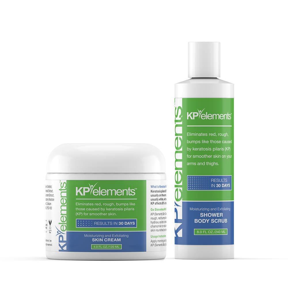 KP Elements Keratosis Pilaris Body Scrub & Exfoliating Skin Cream Set, 12 fl oz. total - All-Natural, Soothing, Healing Ingredients by KP Elements