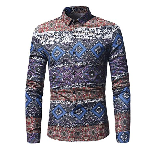 Longay Men's Printed Shirt Plus Size Slim Fit Long Sleeve Casual Button Shirts Formal Top Blouse (M, (American Eagle Mens Belt)