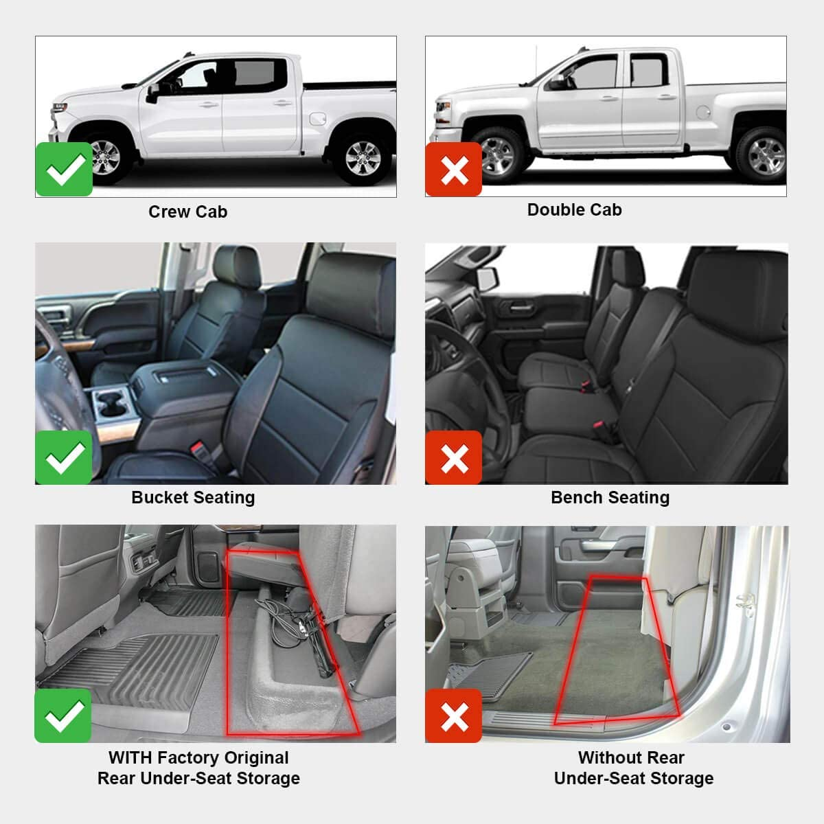 LASFIT Floor Mats Fits for 2019-2020 Chevrolet Silverado 1500 /& GMC Sierra 1500 Crew Cab All Weather Guard Custom Fit TPE Floor Liners Front Bucket Seating /& Rear Seating with Factory Storage Black
