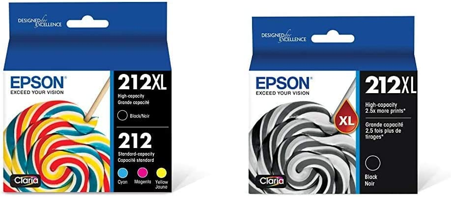 Epson 212XL, Standard-Capacity Color and High-Capacity Black Ink Cartridges, 4-Pack & T212XL120 Expression Home XP-4100 4105 Workforce WF-2830 2850 212XL Ink Cartridge (Black) in Retail Packaging
