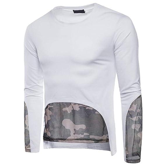 Camisetas Hombre Manga Larga Otoño Camisetas De Manga Larga De Camuflaje para Hombre ❤️AIMEE7 Camiseta