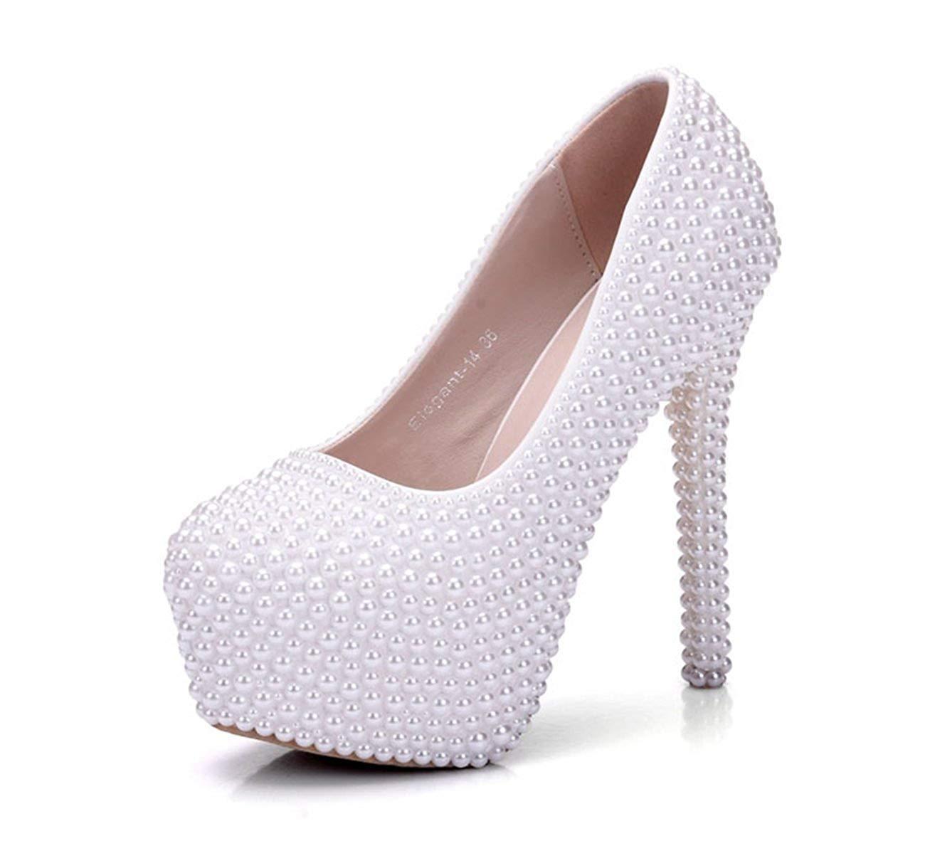 Willsego Scarpe da Donna nascoste con Perline e Perline da Sposa Avorio in Rilievo 4.5 (colore   -, Dimensione   -)