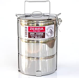 Zebra Brand , Stainless Steel Food Carrier Premium Quality Size 12 Cm X 3 Tier by Zebra