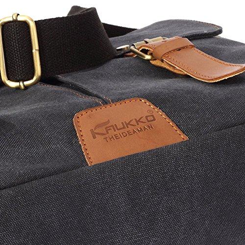 Vintage Men Messenger Bag, Kaukko Canvas Crossbody Shoulder Bags Laptop Briefcase Black by KAUKKO (Image #6)