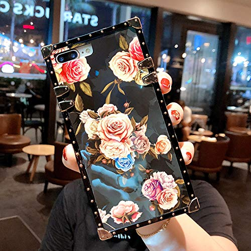 for iPhone 6/6SPLUS/7/7PLUS/8/8PLUS/X/XS/XR/XS MAX 5.8 Newest Retro Blue Ray Rose Flower Glitter Skin Design TPU+ PU Leather Plating Square Corner Strong Back Case with Holder (Rose, iphone7/8 Plus)