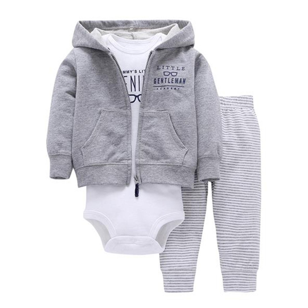 Clothes Set Bodys Bebes Cotton Hooded Cardigan+Trousers+Body 3piece Set Newborn Clothing
