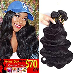 "QTHAIR 10A Brazilian Virgin Hair Body Wave 20"" 18"" 16"" 300g Natural Black 100% Unprocessed Virgin Brazilian Body Wavy Human Hair Weave 3 Bundles Brazilian Body Wave Human Hair Extensions"