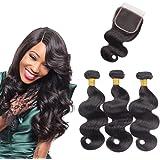 brésiliens Body Wave 3 trames avec fermeture en dentelle 4 x 4 gratuit supplémentaire 100% non transformés Extensions de Trame de cheveux humains Naturel Noir Couleur