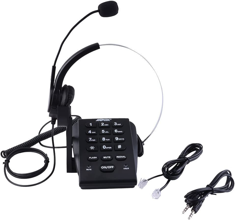 1 Year Warranty AGPtek/® Handsfree Call Center Dialpad Corded Telephone #HA0021 with Monaural Headset Headphones Tone Dial Key Pad /& REDIAL