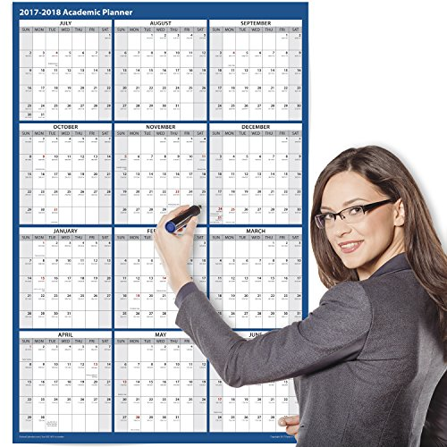 2017 - 2018 Academic Wall Calendar, Erasable, 24 x 36 Inches, 2-Sided Reversible Vertical/Horizontal, Mounting Tape Included (Navy Blue)