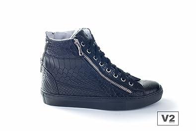 b48f6bd10186f6 V2 Sneakers Mod.Z1500 Mixte-Cuir Croco Noir-FABRIQUÉ en Italie - Noir