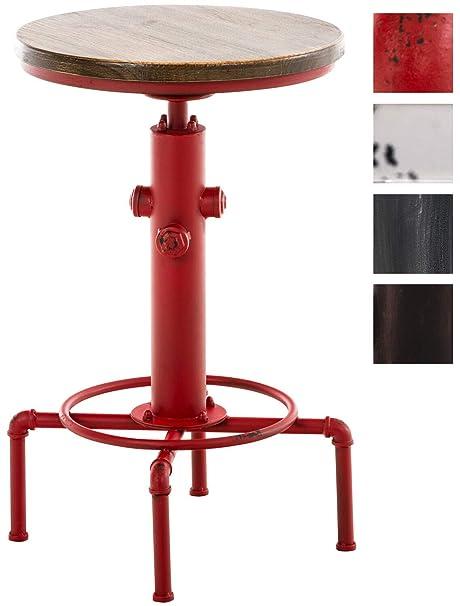CLP Mesa Lumos Industrial Look I Mesa Redonda De Madera I Mesa De Centro Con Base De Metal I Mesa De Caf/é Regulable En Altura I Color Rojo
