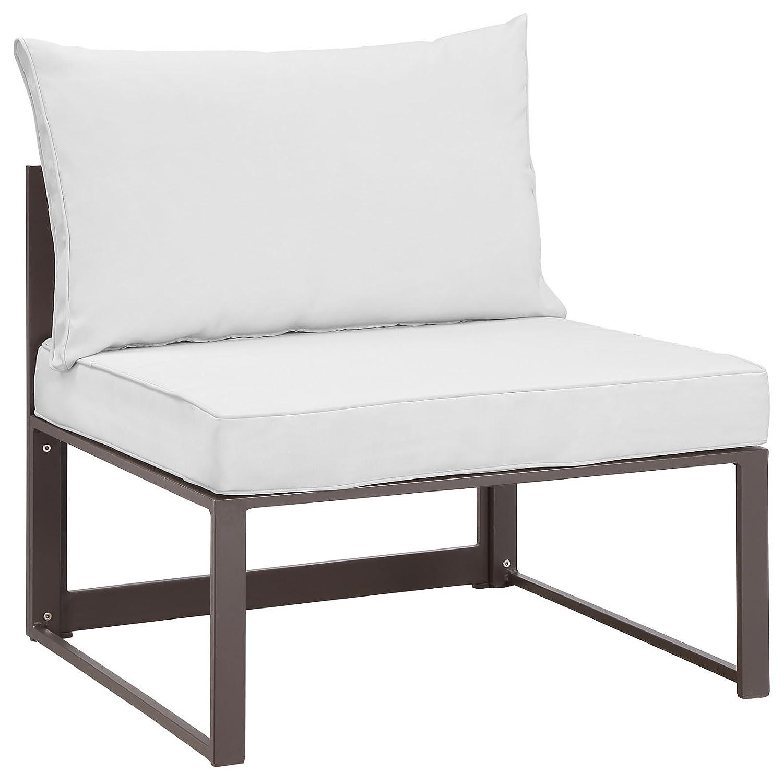 Amazon.com : Modern Urban Contemporary Outdoor Patio Armless Chair, Brown  White Fabric Steel : Garden U0026 Outdoor