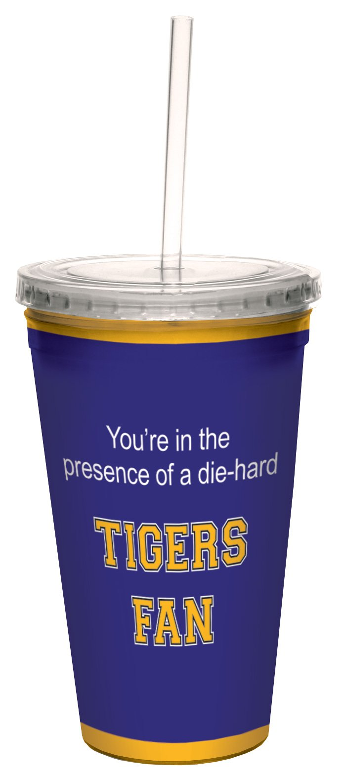 Tree-Free Greetings cc34770 Tigers College Basketball Artful Traveler Double-Walled Cool Cup with Reusable Straw, 16-Ounce by Tree-Free Greetings (Image #1)