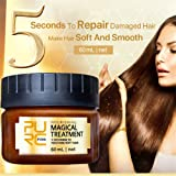 Zhilin424 1 Pcs 60ml Pure Nourishing Magical Treatment 5 Seconds to Restore Soft Hair,Magical Keratin Hair Treatment Mask 5 Seconds Repairs Damage Hair Root