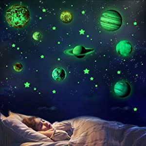 Glow in The Dark Planets Space Stars, Solar System Wall Stickers Birthday Christmas Gifts for Baby Boys Girls Kids Bedroom