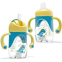 Vaso Bebe 2-en-1 Vaso Antiderrame Bebe con Boquilla y Pajita, Vaso Aprendizaje Bebe con Asas para Facilitar la Sujeción…