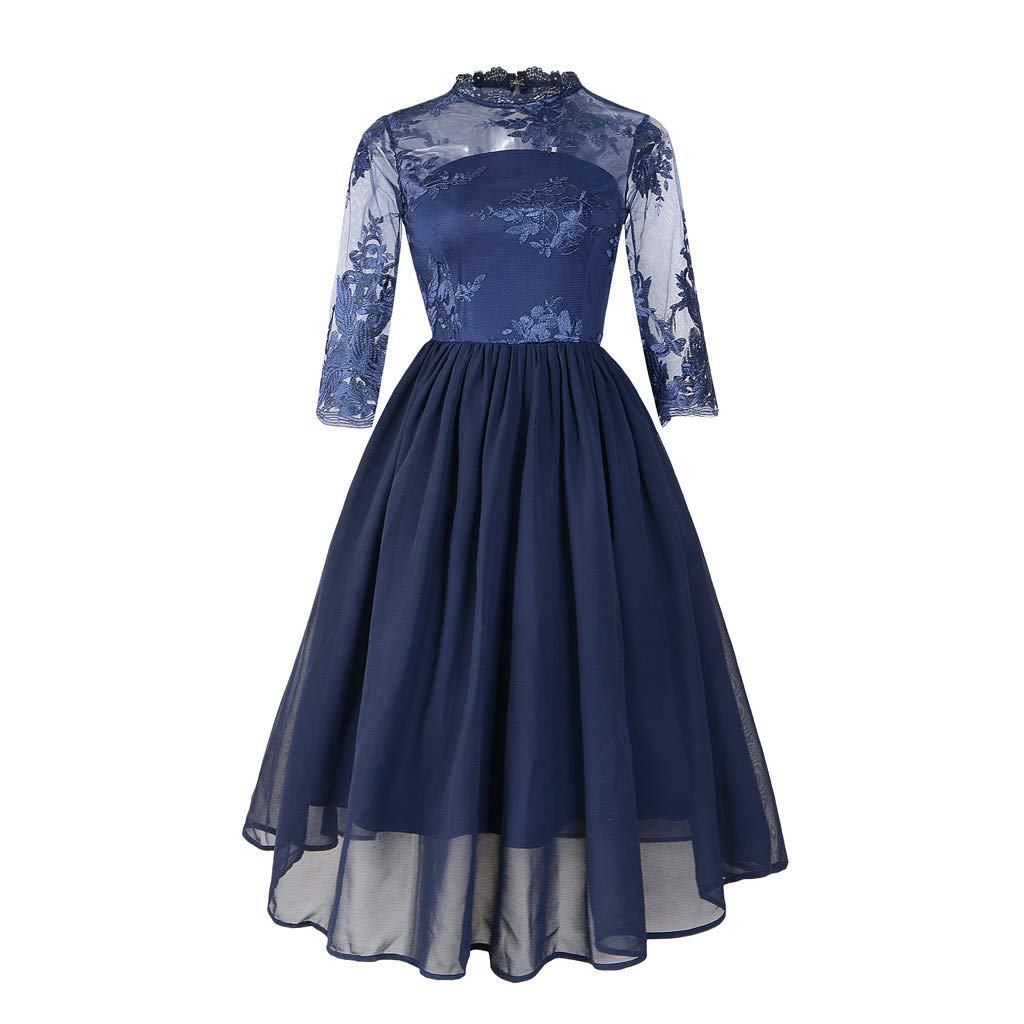 Summer Dresses for Women 3/4 Sleeve Floral Lace Solid Vintage Country Rock Cocktail Dress (Navy,S)