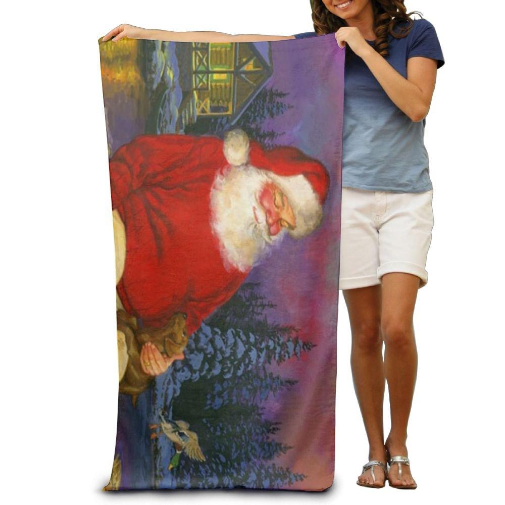 dimannu toalla de baño de Navidad Papá Noel perros animales patrón suave toalla de playa (31