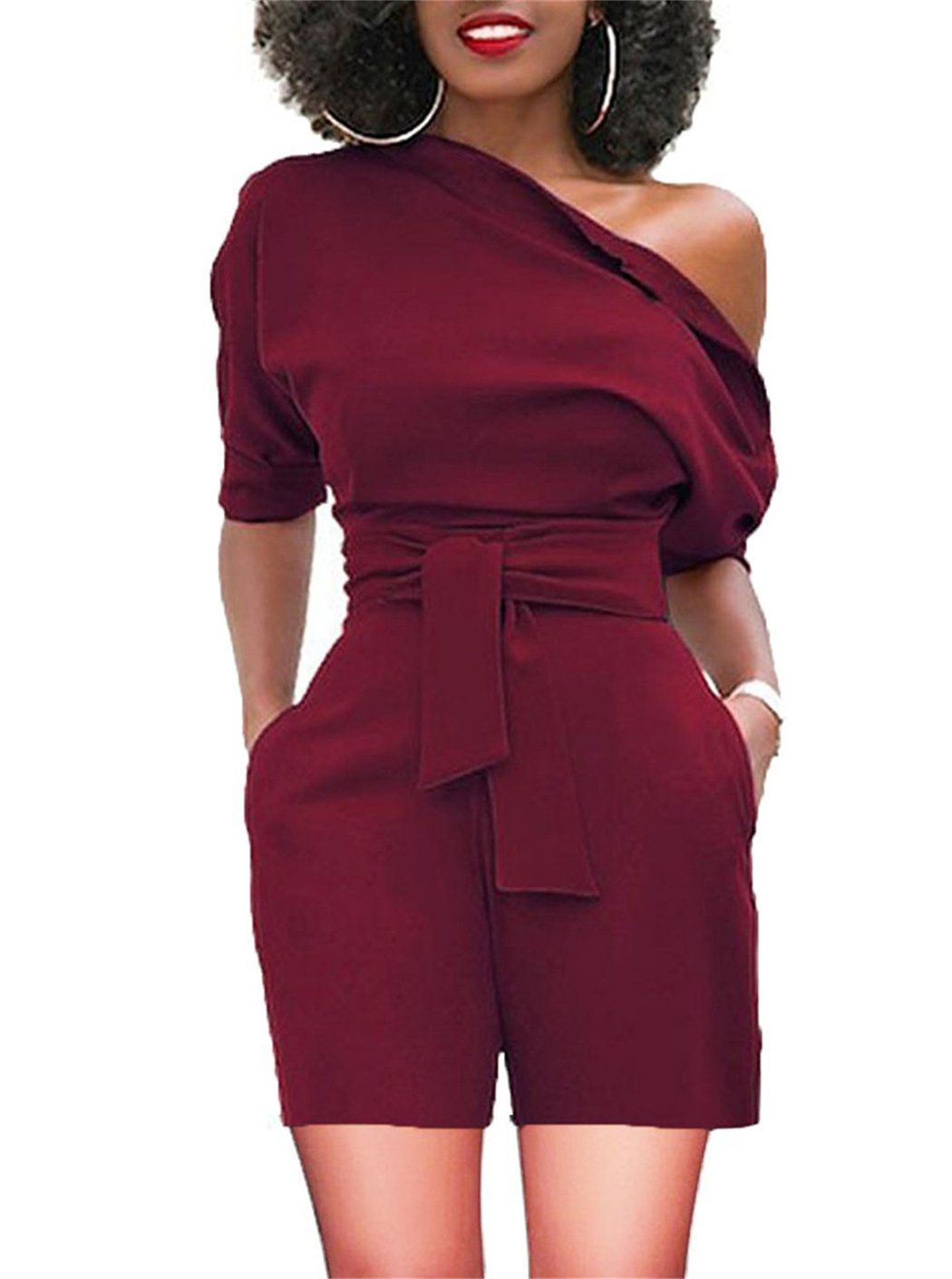 BETTE BOUTIK Women's Summer Party Playsuits Causual Style Short Jumpsuits Belt WineRed XX-Large