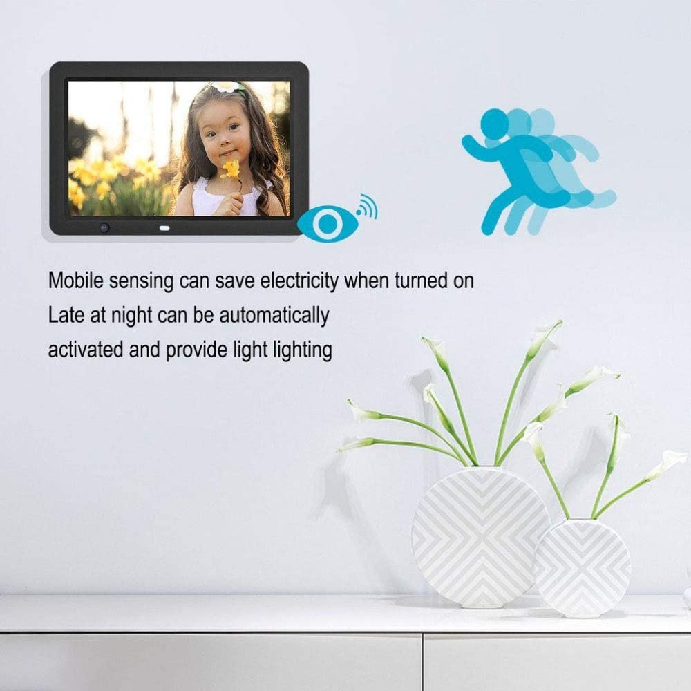 Digital Picture Frames 12 Inch Digital Picture Frame 1280800 Pixels High Resolution High Resolution LED Screen Motion Sensor USB And SD Card Slots And Remote Control Auto On//Off Black With 8GB U Dis
