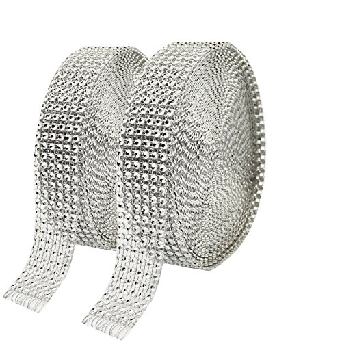 Metable 2 Rolls 6 Row 10 Yard/Roll Acrylic Rhinestone Diamond Ribbons Sparkling Mesh Ribbon for Wedding Cakes DIY Arts Crafts Decorations