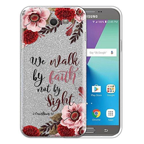FINCIBO Case Compatible with Samsung Galaxy J7 2017/ J7V J727 Sky Pro, Shiny Silver Glitter TPU Protector Cover Case for Galaxy J7 2017 Sky Pro (NOT FIT J7 2016) - Christian 2 Corinthians 5:7