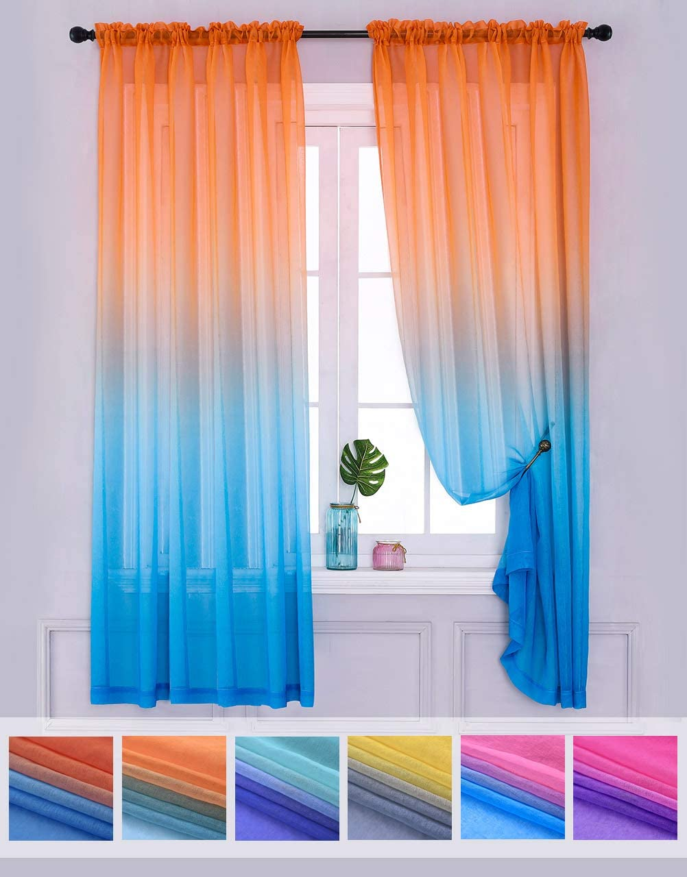 Yancorp Sheer Curtain 2 Panels Semi Bedroom Curtains 84 inches Length Linen Orange Blue Ombre Curtains Drapes Girls Living Room Kids Kitchen Window 63 72 96 inches Long Orange Blue, 52 x84