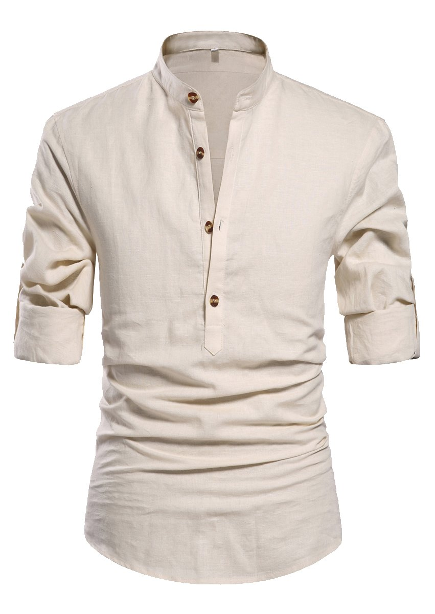 ZYFMAILY Men's Linen Casual Roll-Up Long Sleeve Henley Shirts, Beige, US Large