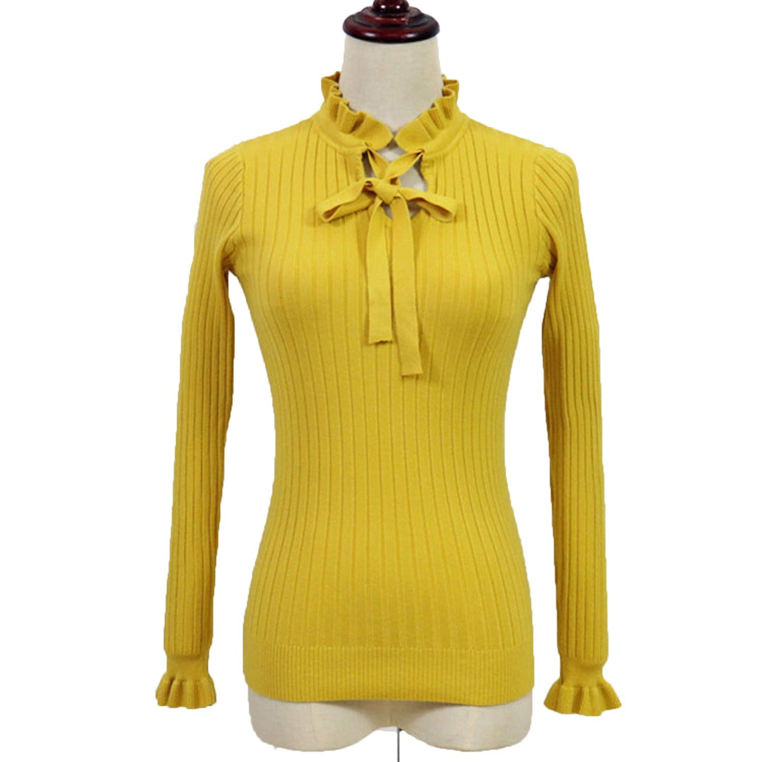 Casual Slim Sweater Women Knitting Pullover Lace Up Long Flare Sleeve Ruffle Sweater,Yellow,One Size