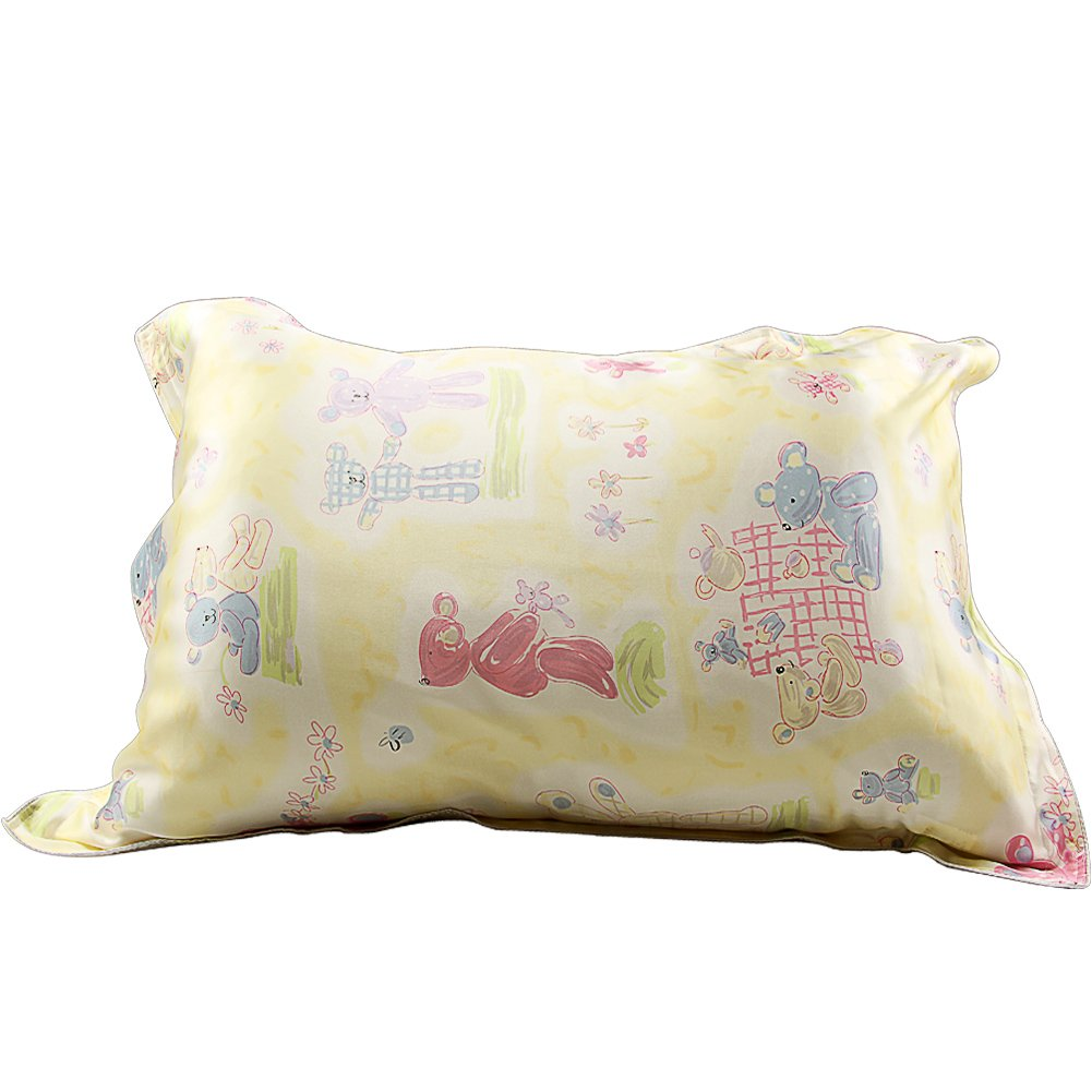 IBraFashion Silk Pillowcase for Hair and Skin Beauty Yellow Bear Print Girl Silk Pillowcase Standard/Queen