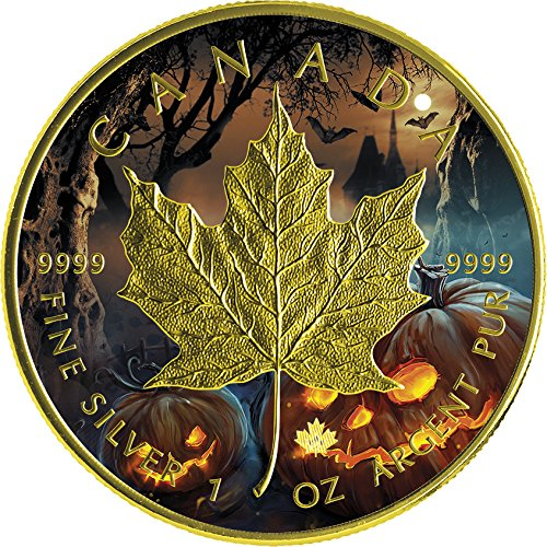2016 CA Modern Commemorative HALLOWEEN MAPLE LEAF 1 Oz Silver Coin 5$ Canada 2016 BU Brilliant (Canada Halloween Sale)