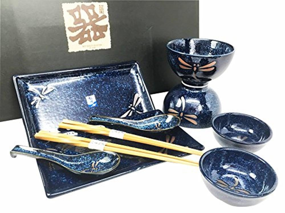 JapanBargain 3651 Japanese Porcelain Sushi Dinner Gift Set Plate Bowl Sauce Dish Spoon Chopsticks, Navy Dragonfly