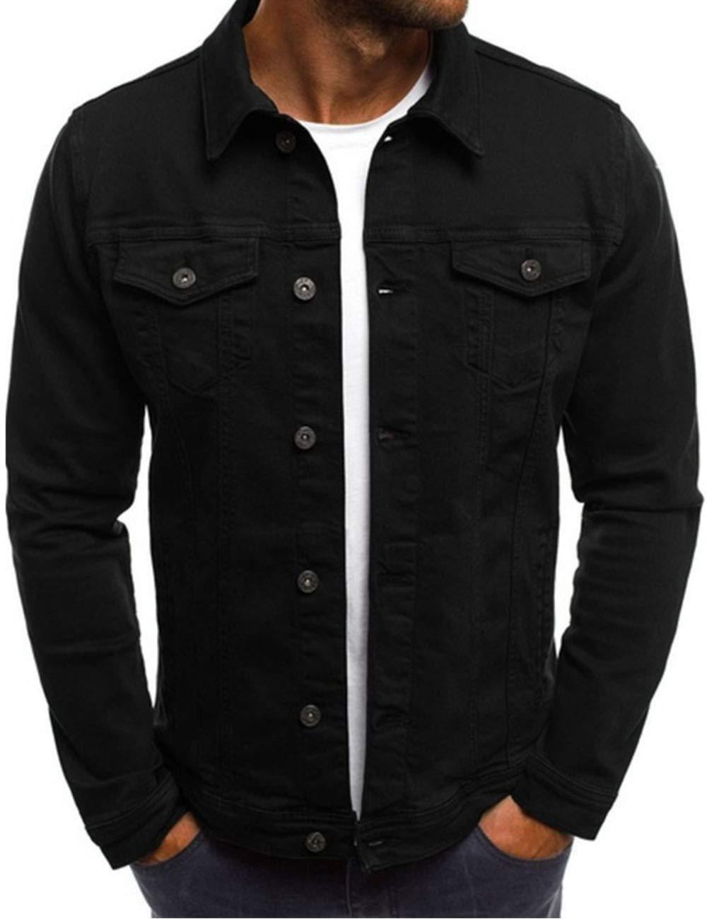 Men's Oversize Cozy Regular Fit Utility Pocket Overshirt Long Sleeve Slim Fit Button Up Denim Field Shirt Jacket(BL-L) by SOMTHRON