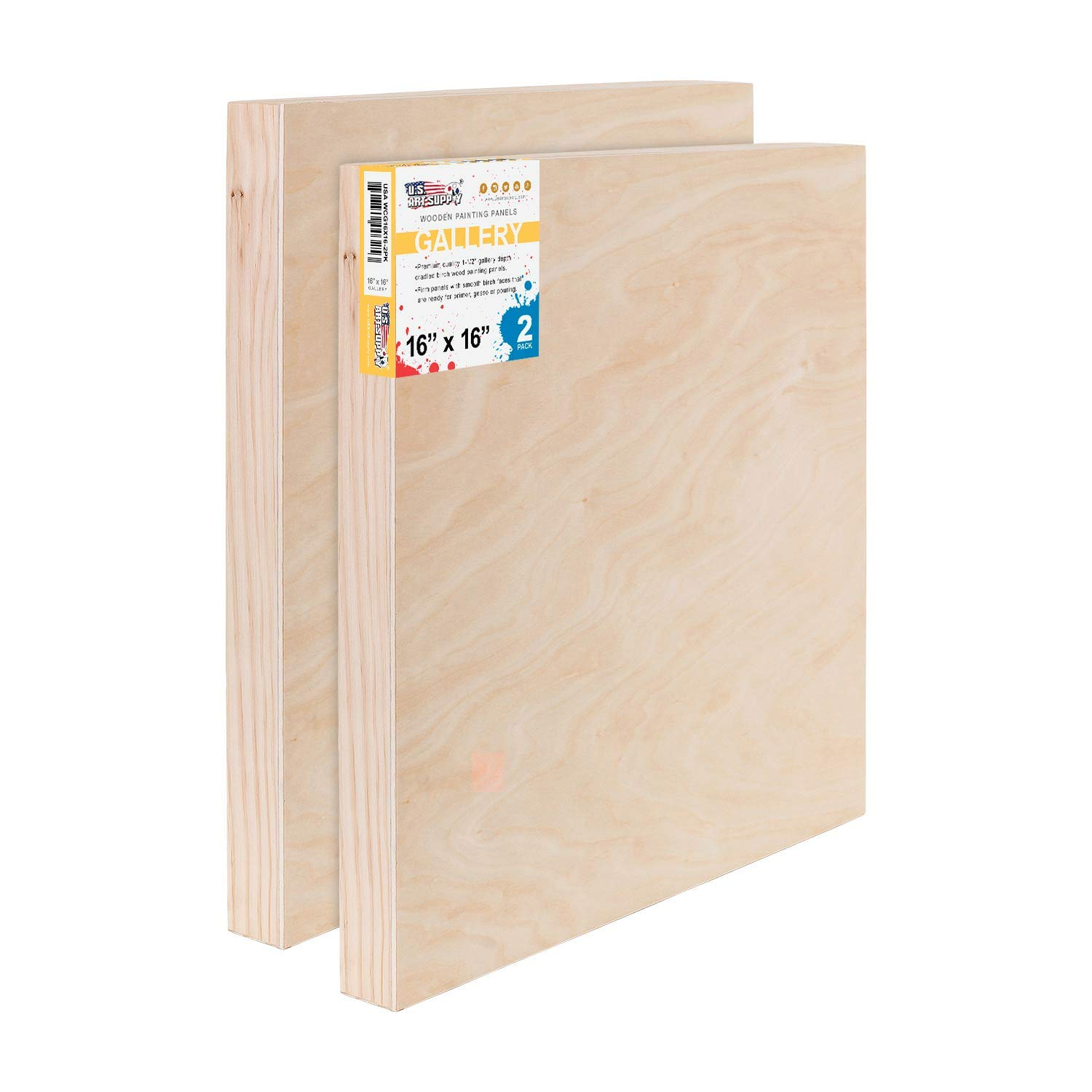 U.S. Art Supply 16'' x 16'' Birch Wood Paint Pouring Panel Boards, Gallery 1-1/2'' Deep Cradle (Pack of 2) - Artist Depth Wooden Wall Canvases - Painting Mixed-Media Craft, Acrylic, Oil, Encaustic