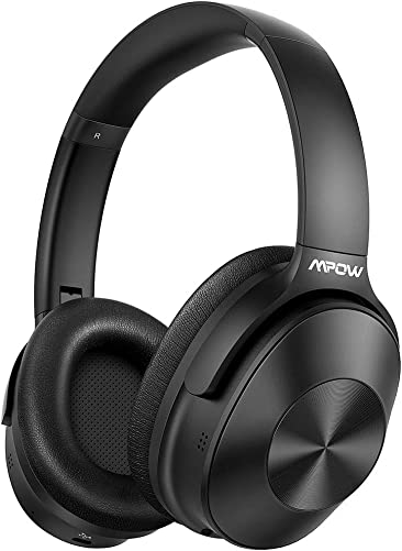 Mpow H12 Hybrid Active Noise Cancelling Bluetooth Headphones with Microphones, Upgraded Wireless Headphones Over Ear with Hi-Fi Deep Bass, Soft Protein Earpads, 30H Playtime for TV Travel Work PC
