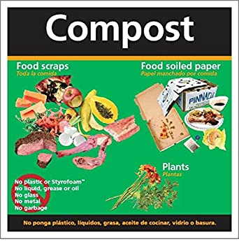 "Recycle Compost decal 8.5""x8.5"" for receptacles, containers and dumpsters."