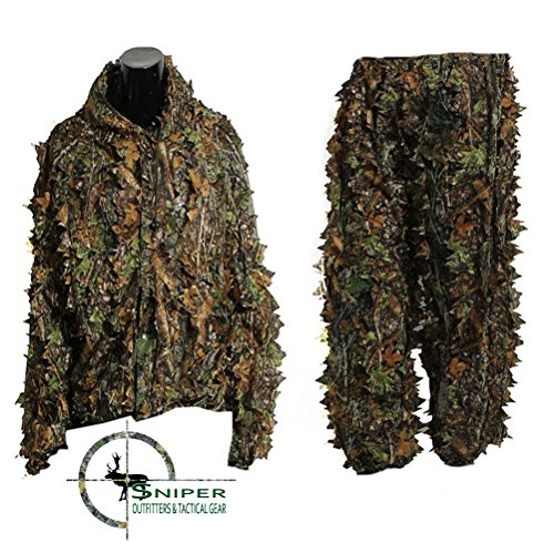 Sniper Outfitters XXL Ghillie Suits 3D Leafy Camo Suit for Hunting. Ghillie Suit for Men Camouflage Army Military Clothing and Camo Hunting Suit, Excellent for Deer, Elk, Bird and Turkey (Gilly Suits For Kids)