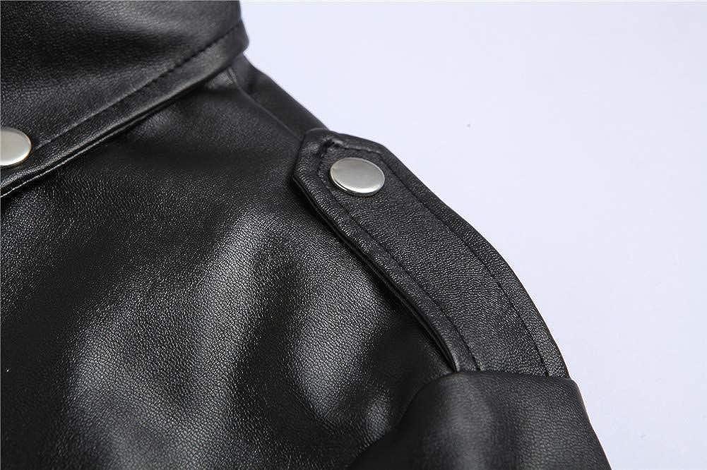 Vintage Veste en Similicuir Casual Classique Zipp/ée Biker Veste Blouson Manteaux