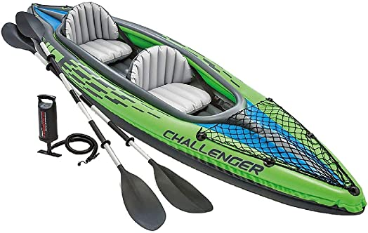 Intex Challenger K2 Kayak, 2-Person Inflatable Kayak Set with Aluminum Oars and High Output Air Pump