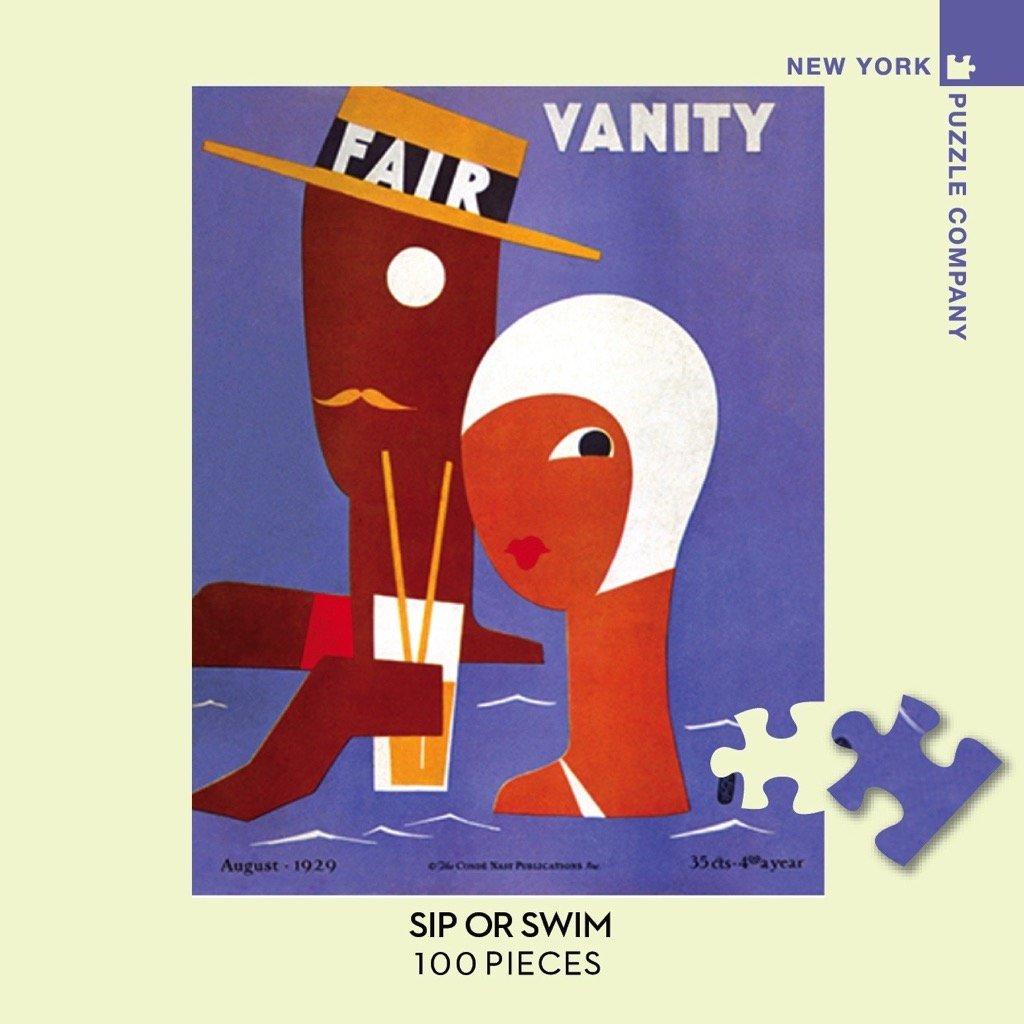 New York Puzzle Company Vanity Fair Sip or Swim 100 Piece Jigsaw Puzzle