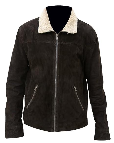 db6743ece Red Smoke The Walking Dead Rick Grimes Season 5 Fur Collar Suede Leather  Jacket