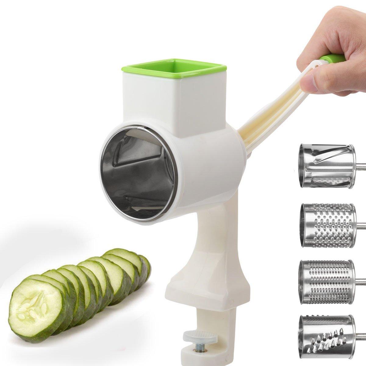 ouborui 4 en 1 –  Cortador de verduras en espiral con abrazadera de mesa picadora manual para cortar verduras alimentos